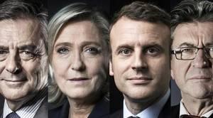 Fillon, Le Pen, Macron y Melenchon, principales candidatos a las elecciones francesas