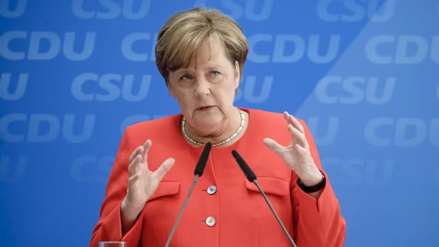 La canciller alemána, Angela Merkel, en una rueda de prensa
