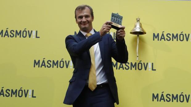 El consejero delegado de MásMóvil, Meinrad Spenger, durante el acto de salida al Mercado Continuo de la Bolsa española de la compañía