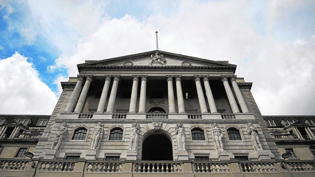 Vista del exterior del Banco de Inglaterra en Londres