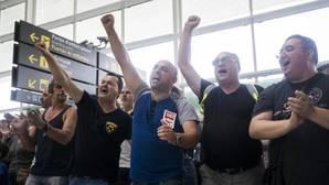 Protesta de los trabajadores de El Prat a mediados de agosto