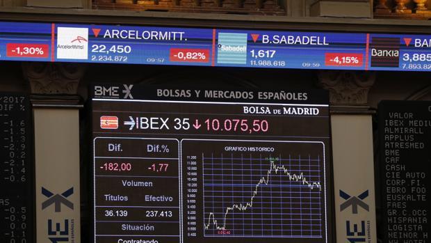 Imagen del Ibex 35, que se ha dejado un 2,85% este miércoles