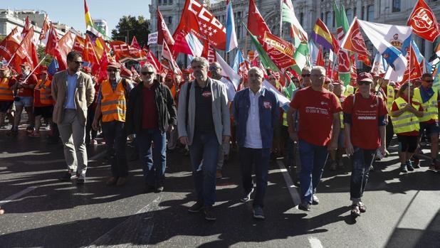 Unai Sordo y Pepe Álvarez, en primer término, en una reciente manifestación en Madrid