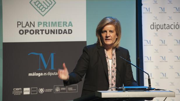La ministra de Empleo, Fátima Báñez, en un reciente acto en Málaga