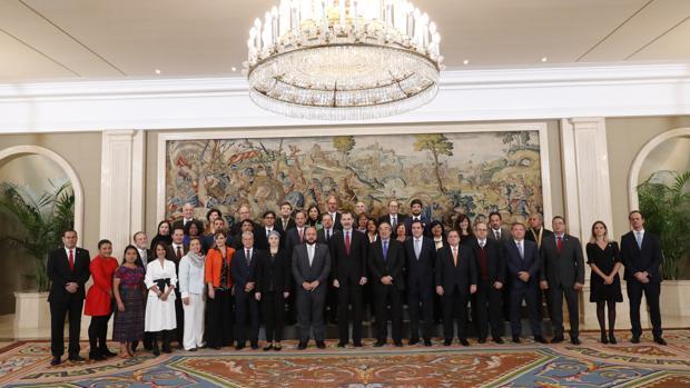 Audiencia con Felipe VI de los expertos participantes en el II Foro Iberoamericano de la Mipyme, celebrado esta semana en Madrid