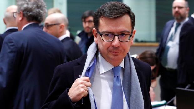 El ministro de Economía, Román Escolano, hoy en Bruselas