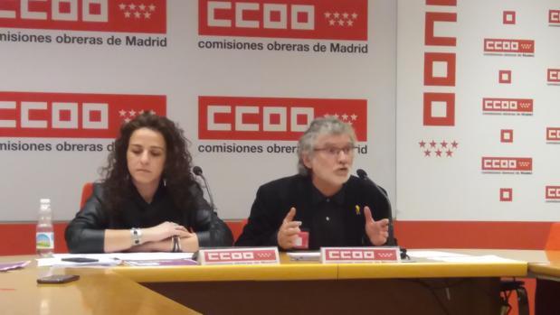 La secretaria de Mujeres e Igualdad, Elena Blasco, y el secretario de Organización, Fernando Lezcano, hoy