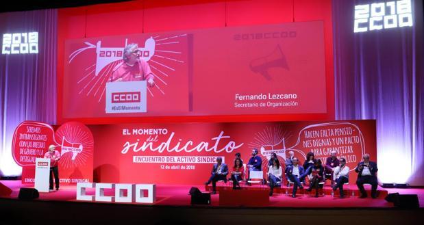 El secretario general, Fernando Lezcano, durante su intervención ante los delegados