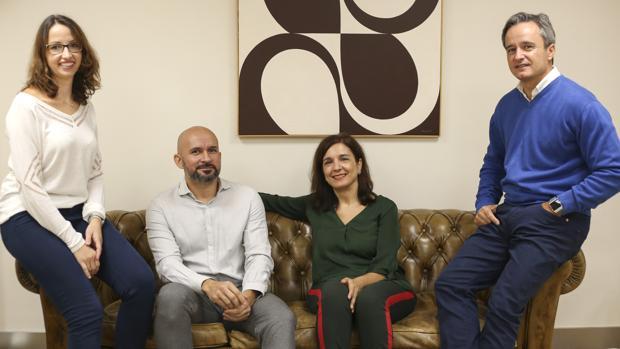 Isabel Hormigo (CTA), Carlos Rojas (MCDemy), Mercedes Camacho (Fundación Cajasol) y Enrique Tapia (Genera Games)