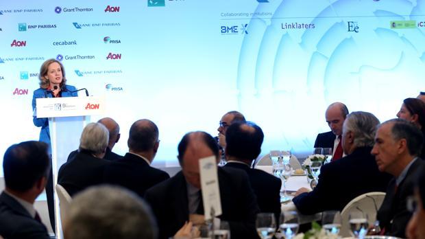 Nadia Calviño, ministra de Economía, durante su discurso en el Spain Investors Day