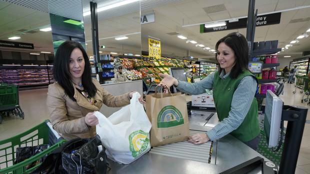 Bolsa de papel y bolsa de material reciclado de Mercadona, todas ellas reciclables y reutilizables