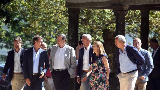 El presidente del Gobierno en funciones durante la inauguración del curso político en Cotobade (Pontevedra)