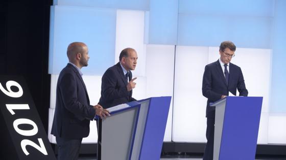 Villares, Leiceaga y Feijóo, durante el debate