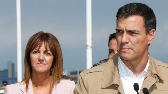 Sánchez, esta mañana en Portugalete (Vizcaya) junto a la candidata a lendakari Idoia Mendia