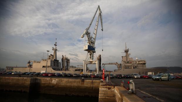 Vista general de los astilleros de Navantia, en Ferrol