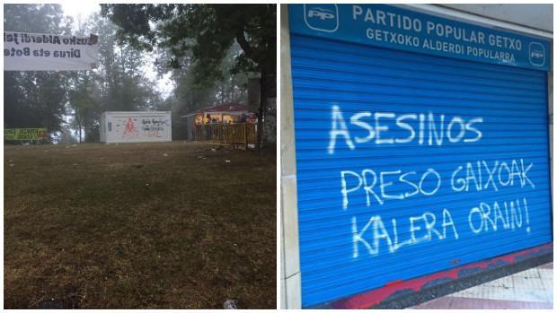 Casetas y sedes han sido atacadas durante la campaña electoral, algunas a favor de los presos de ETA