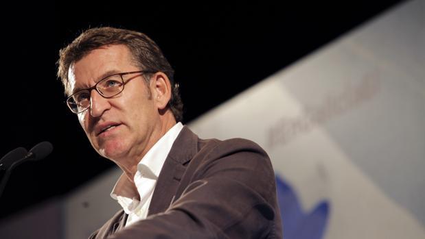 Alberto Núñez Feijóo, presidente del PPdeG, durante el mitin celebrado en Lugo este martes