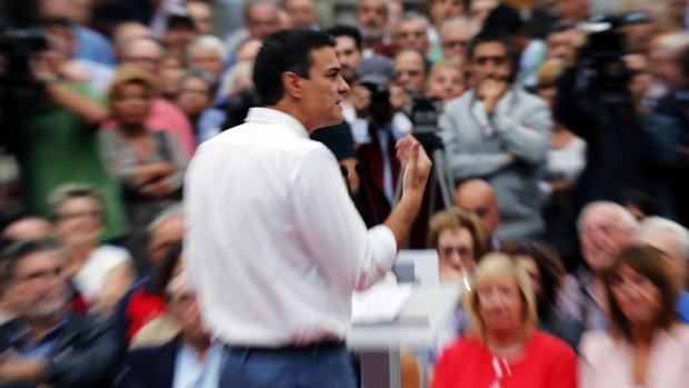 Pedro Sánchez, en el mitin de esta tarde en Bilbao