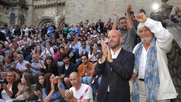 Villares, Ferreiro y Beiras, ayer llegando al acto de Compostela