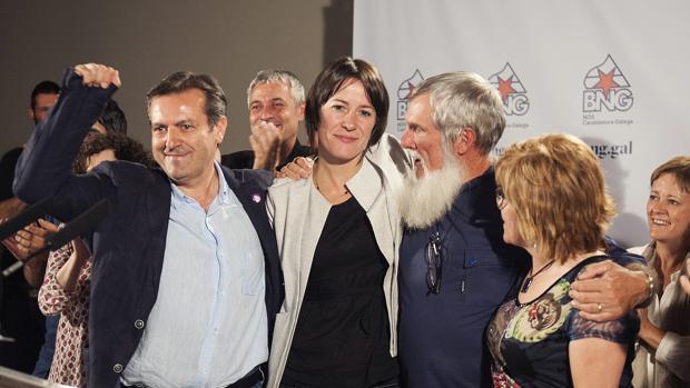 Ana Pontón celebra los resultados del BNG después de comparecer ante los medios