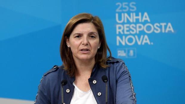 Pilar Cancela, ayer en la sede del PSdeG-PSOE