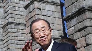 Ban Ki-moon disfruta de un paseo por La Granja y del cochinillo de Segovia
