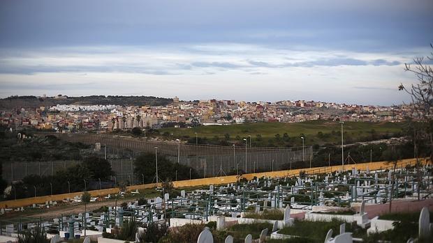 Vista de la frontera entre Melilla y Marruecos