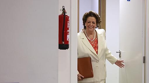 Rita Barberá, durante su última comparecencia pública