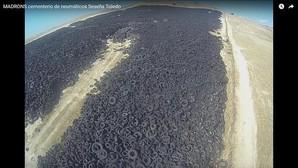 Así era el cementerio de neumáticos de Seseña