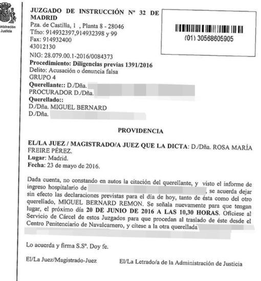 Citación judicial a Miguel Bernad por denunica falsa
