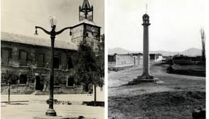 Plaza de Navahermosa, localidad donde se celebró la ejecución de los «Marines» y , a la derecha, rollo jurisiccional de Mensalbas, localidad natural de los hermanos Guzmán Marín y lugar donde se cometieron los crímenes