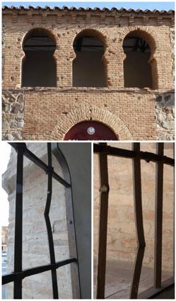 Impactos de fusilería en la fachada y rejas de la Plaza de Toros.