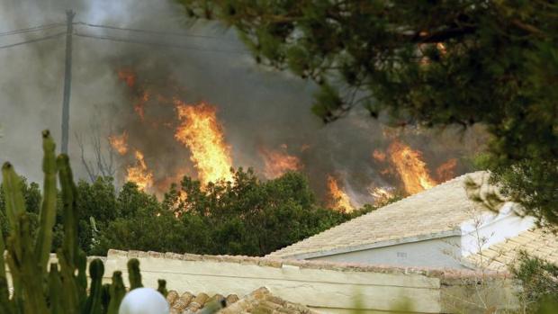 Zona del incendio junto a la urbanización Cumbres del Sol en el paraje natural de La Granadella,