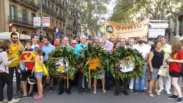 Imagen de la representación llegada de Valencia en la Diada de 2015
