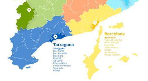 Imagen del mapa con la distribución de las comarcas de Cataluña junto a Baleares y la Comunidad Valenciana