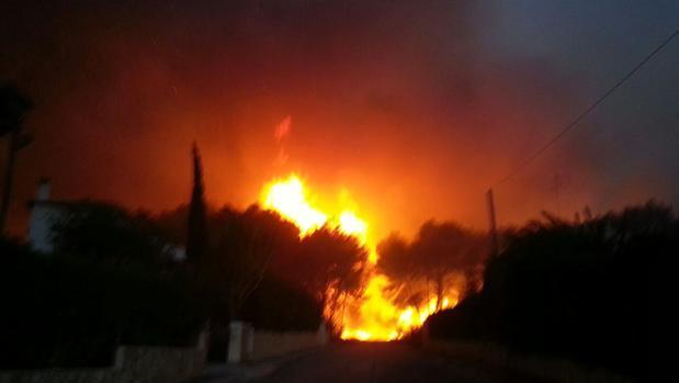 Imagen del incendio en Jávea