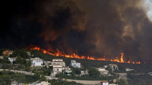 Imagen del incendio tomada este lunes