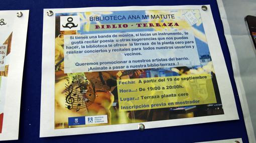 Cartel sobre los conciertos, en la biblioteca Ana María Matute