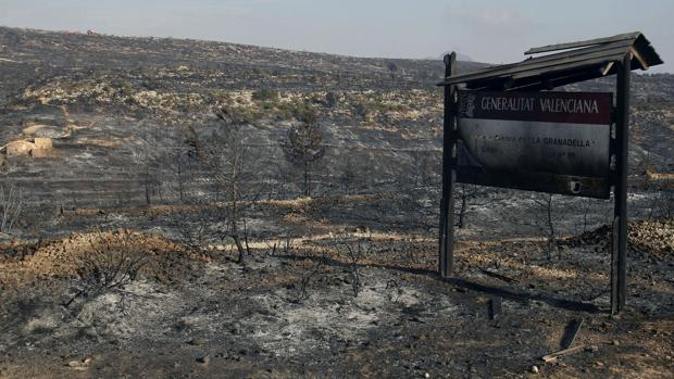 Imagen de los efectos de los incendios en Alicante