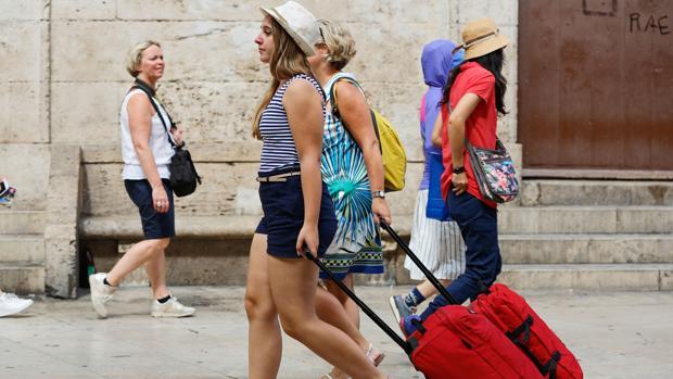 Imagen de un grupo de turistas captado en el centro de Valencia
