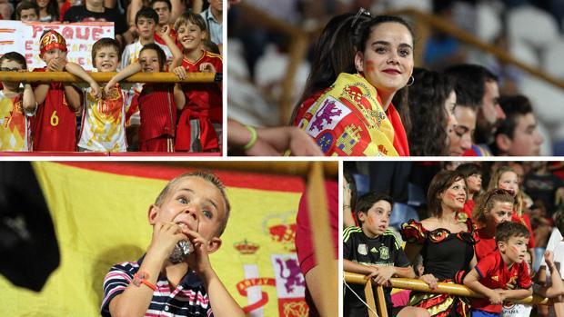 Los aficionados españoles durante el partido