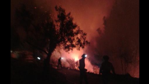 Los medios terrestres han trabajado durante toda la noche para atajar el fuego.