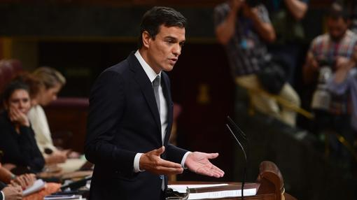 Pedro Sánchez, durante su discurso en el debate de investidura de Rajoy