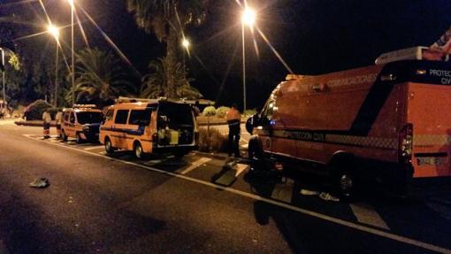 Unidades de Protección Civil de la capital grancanaria colaborando en Teror