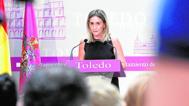 Milagros Tolón, alcaldesa de Toledo, este jueves durante la rueda de prensa