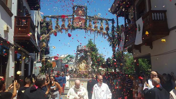 Procesión de El Pino, la semana pasada, en Teror, Gran Canaria