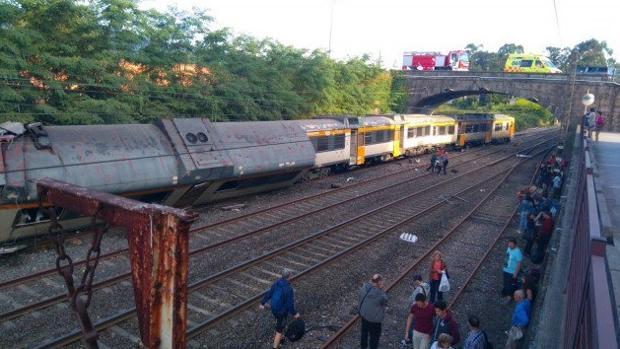 Imagen del tren descarrilado en la O Porriño (Pontevedra)