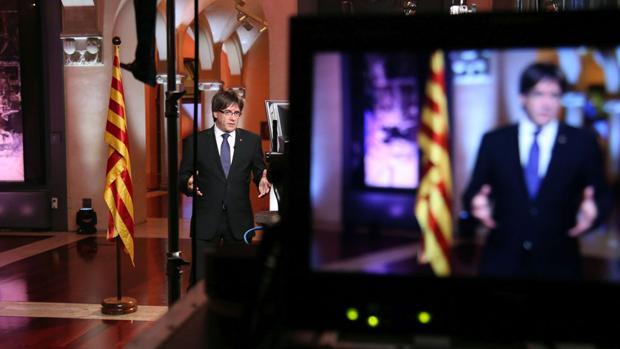 Puigdemont, esta noche durante su discurso, retransmitido opor TV3