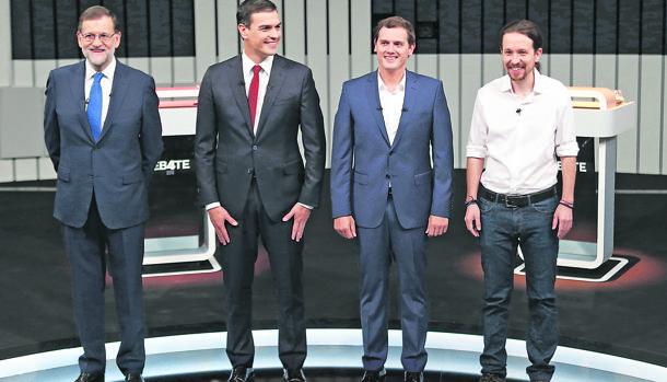 Rajoy, Sánchez, Rivera e Iglesias durante el último debate televisivo a cuatro