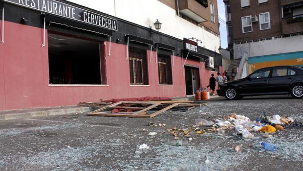 Estado de la fachada tras la explosición y la intervención de los bomberos